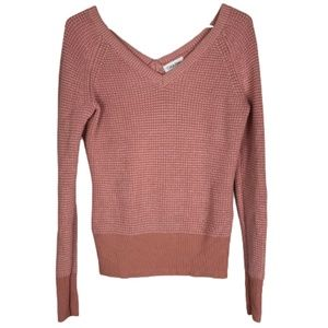 Calvin Klein Deep V-Neck Ribbed Knit Sweater Small